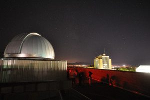Utah_State_University_observatory_and_business_building_at_night