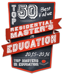 Top 50 Best Value Residential Masters in Education 2015-2016